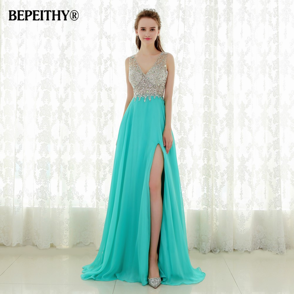 Fantastic Crystal Top Long Prom Dress Robe De Soiree Sexy Open Back New Evening Dresses Party Gowns Vestido De Festa 2019 New