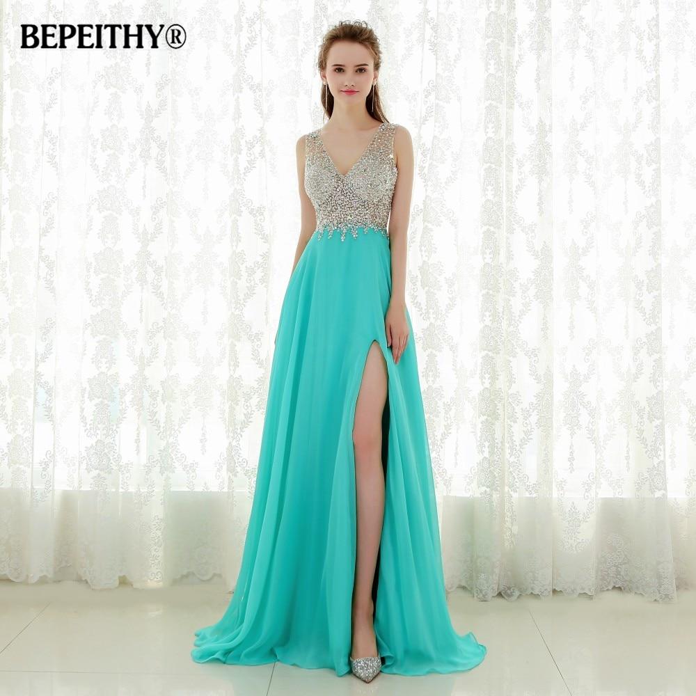 YQLNNE 2018 Blush Prom Dresses Long Chiffon Crystals Slit Evening ...