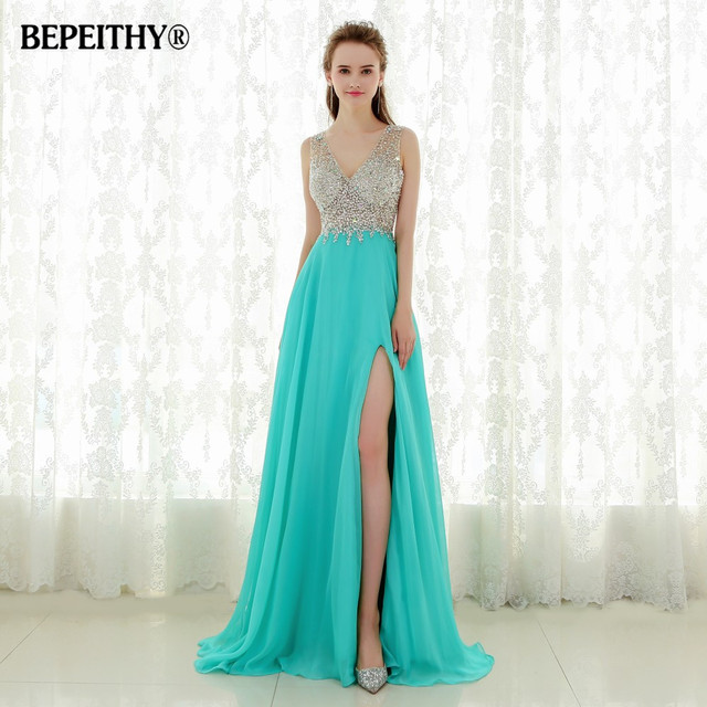 Fantastic Crystal Top Long Prom Dress Robe De Soiree Sexy Open Back New Evening Dresses Party Gowns Vestido De Festa 2016 New