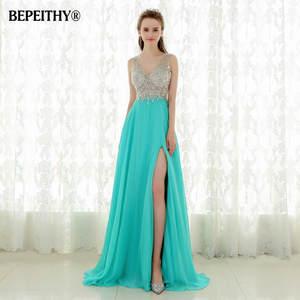 5b03b2dd11 BEPEITHY Crystal Long Prom Dress Sexy Evening Dresses
