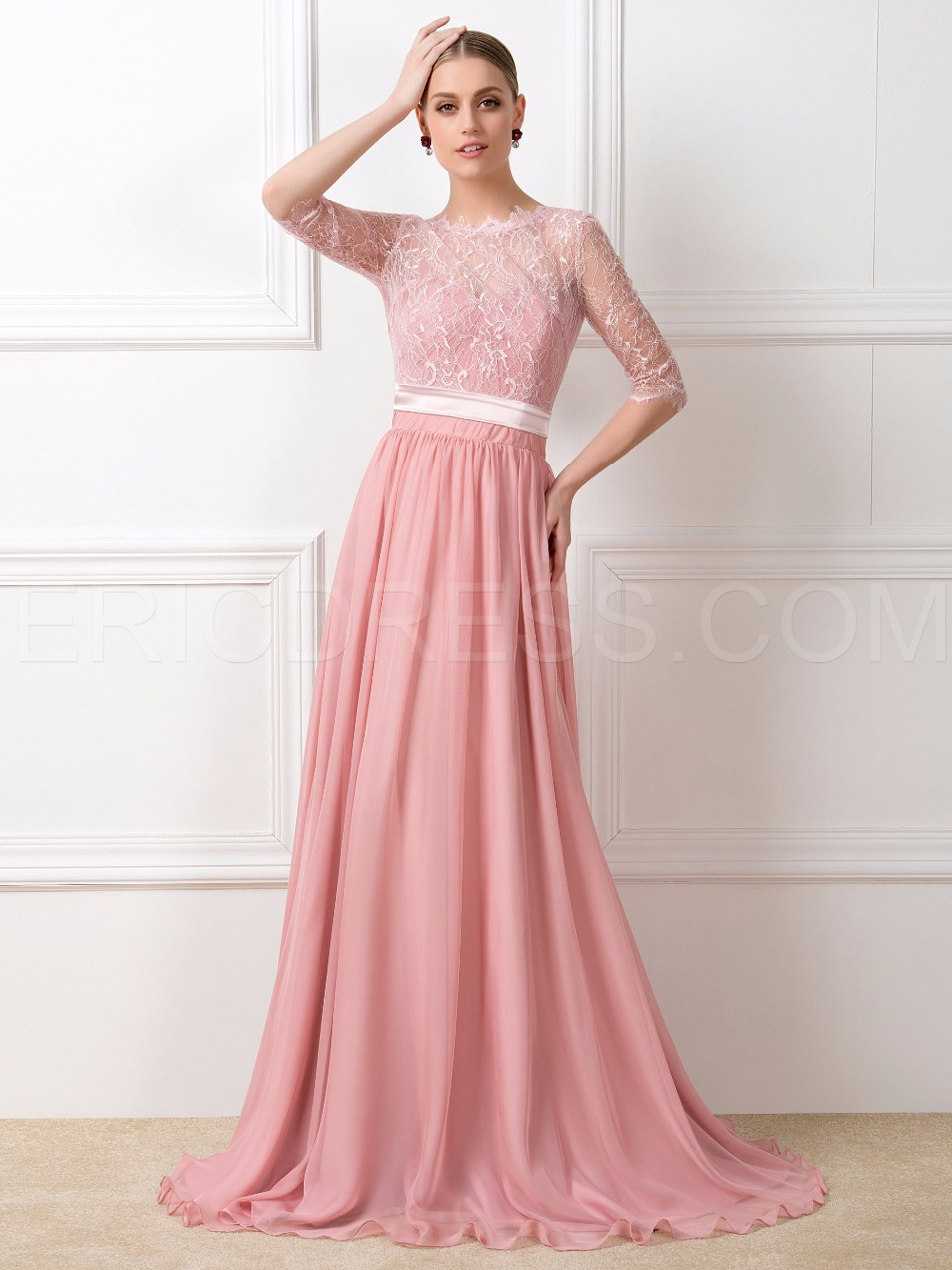 Modest lace peach long chiffon half sleeve dresses for bridesmaid modest lace peach long chiffon half sleeve dresses for bridesmaid dresses with sleeves in bridesmaid dresses from weddings events on aliexpress ombrellifo Image collections