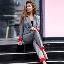 Pants suit women 2019 Office Outfits patchwork Cuffed Sleeve Plaid Blazer Jacket