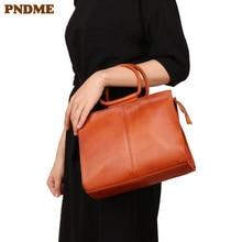 PNDME luxury vintage brown first layer cowhide ladies handbag fashion simple soft genuine leather women shoulder crossbody bags