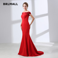 2018 Simple Red Evening Dresses Satin Lace Applique Sexy Mermaid Off the Shoulder Custom Made Cheap Plus Size Formal Prom Gowns