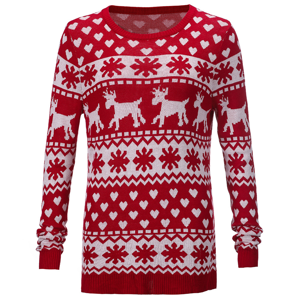 Women Knitted Christmas Red Sweater with Deer Knitted Pullover Sweater Soft Pull Femme Autumn Winter Warm Knitting
