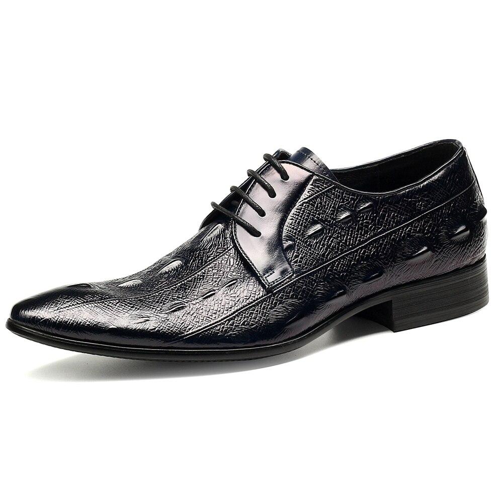 Vestido Hombre Hombres De Chaussure Homme Calzado blue Nueva Partido Calidad Negocios Black Auténtico Alta Zapatos Para Cuero Oxford Moda A7qwqPv