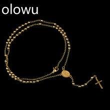 Olowu, новинка, ожерелье с подвеской в виде Креста для мужчин и женщин, четки из нержавеющей стали, бусины, 3 мм, Длинные ожерелья, религиозные украшения