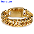 TrustyLan 20MM Wide Yellow Gold Plated Bracelet Men Jewelry Gift Stainless Steel Chain Link Male Bracelets Loom Band Wristband