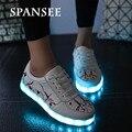 Nuevo estilo de moda mujer hombre zapatillas de deporte con la luz luminosa que brilla intensamente suelas de zapato brillo usb led kids niños shoes zapatillas led