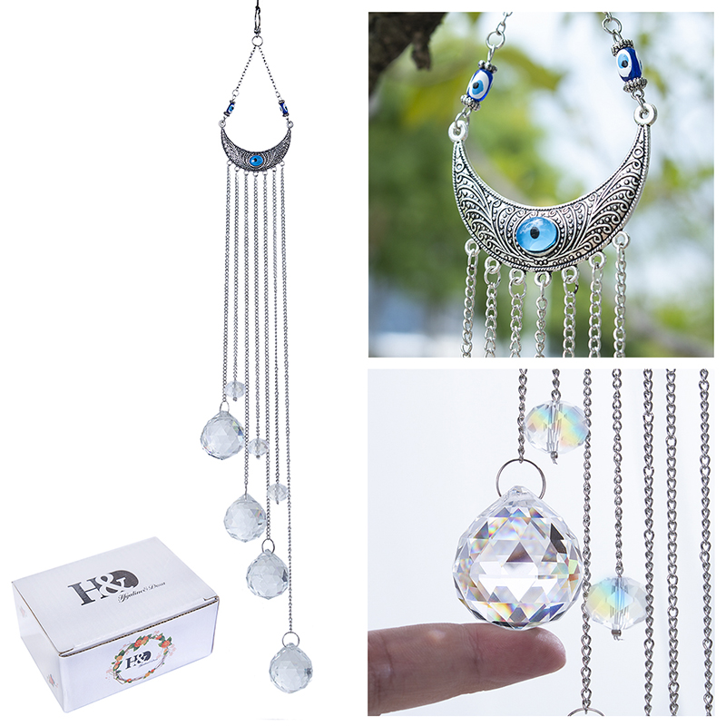 H&D Blue Evil Eye Wall Hanging Drops Rainbow Maker Crystal Suncatcher with Crystal Prism Balls for Home,Garden Window Decoration 5