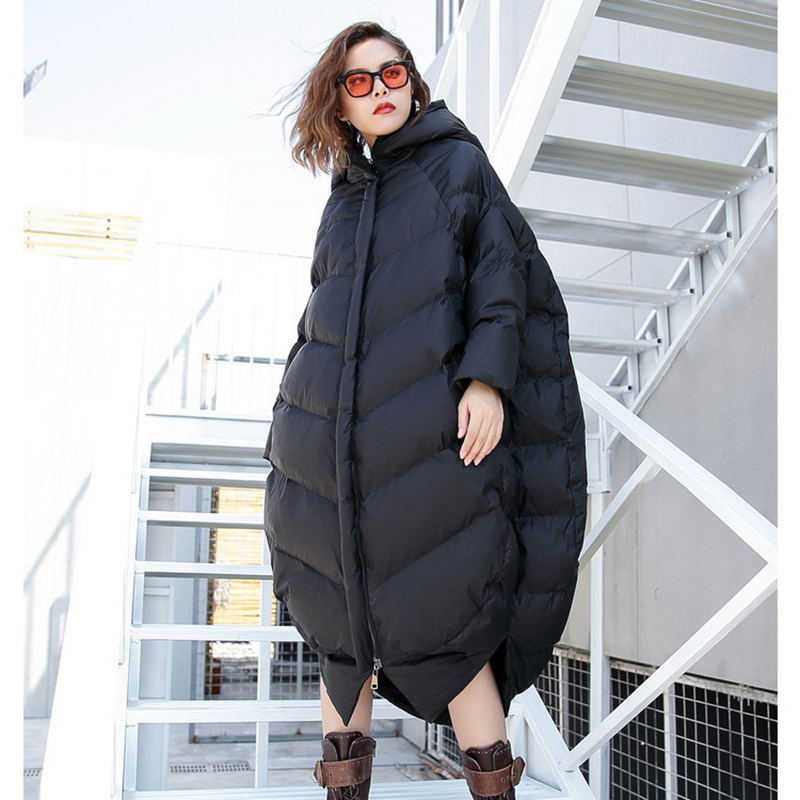 Oversized Cocoon Type Winter Coat Women Large Size Hooded Long Jacket Women Clothes 2019 New Arrival Womens Cotton Padded Parka