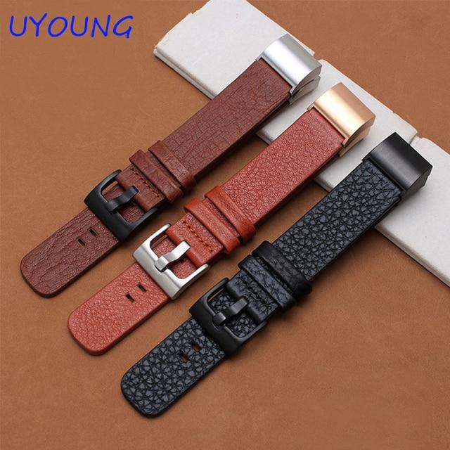 Para fitbit carga 2 calidad correa de piel genuina pulsera 20*18mm smart watch correa con adaptador para los hombres