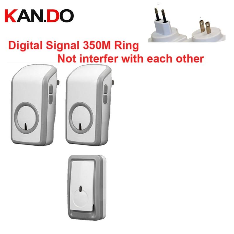 Euro/Us Plug Digital Signal Bell W/ 2 Receiver Wireless Doorbell Waterproof 380Meter Door Chime 48 Melodies Door Ring Waterproof