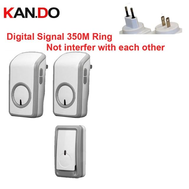 Great Euro/Us Plug Digital Signal Bell W/ 2 Receiver Wireless Doorbell Waterproof  380Meter Door
