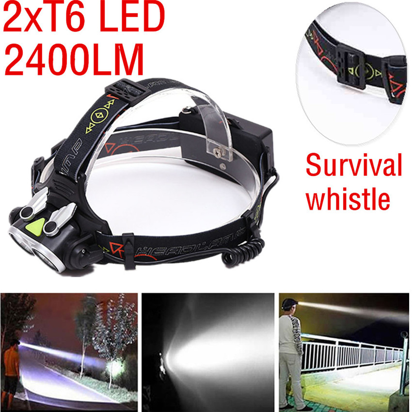 Bicycle Light Strong Light XM-L 2xT6 LED Headlamp T6 LED Headlight Light Lamp Aluminum Flashlight Waterproof Torch M25