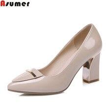 Asumer/на высоком каблуке Большие размеры 33-41 офисные туфли с острым носком без застежки на квадратном каблуке женские туфли-лодочки блестками черный, Абрикосовый Цвет Женская обувь