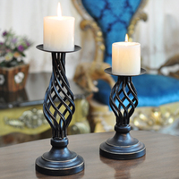 Retro Candlestick Decoration Hollow candlestick Wedding Candlelight Dinner props Table Decoration candle holders