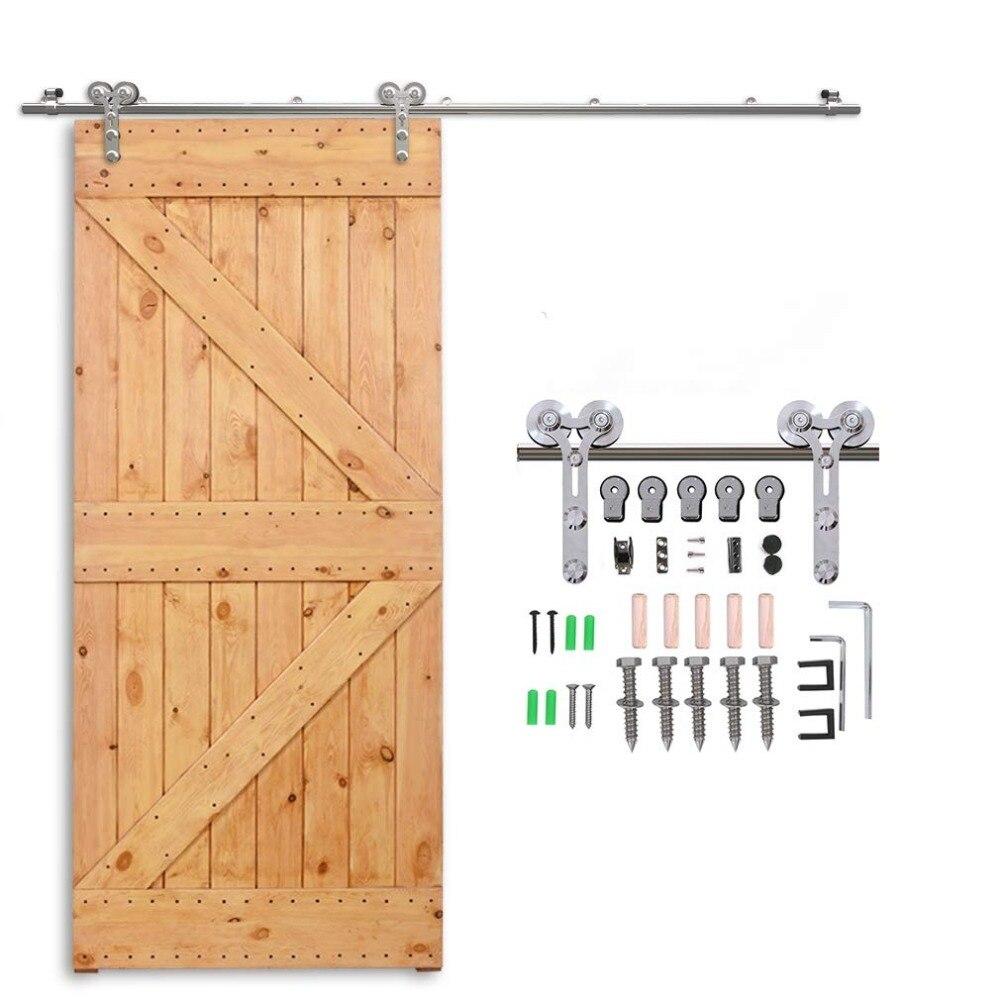 Купить с кэшбэком LWZH 4-9.6FT Y-Shaped Silver Modern Stainless Steel Puerta Corredera Wooden and Glass Sliding Door Hardware Kit for Single Door