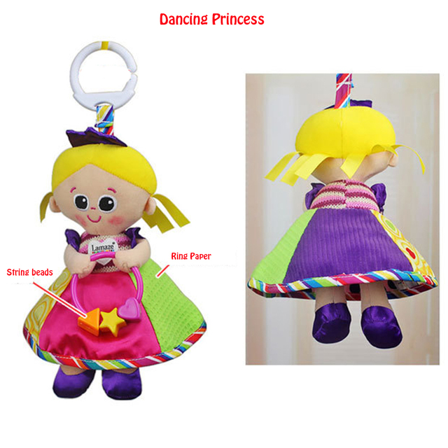 Baby Early Educational Toy Cute Dancing Princess Plush Cloth Wind Chime Baby Rattle Doll Plush Princess Crib Bed Hanging Toy