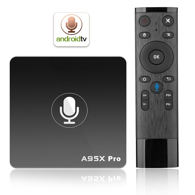 A95X Pro Android 7.1 TV Box Quad Core Amlogic S905W H.265 2 GB 16 GB 2.4 GHz WiFi 4 K HD Media Player Voix Contrôle Smart TV Box