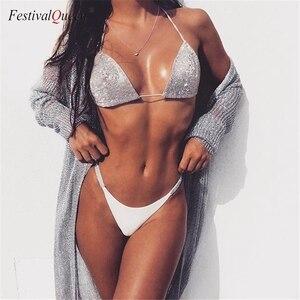 Image 1 - מבריק כסף Rhinestones קצר חזיית סט נשים הלטר חזיית תחתונים שתי חתיכה להגדיר קיץ חוף תלבושות סקסי הלבשה תחתונה סט תחתונים סט
