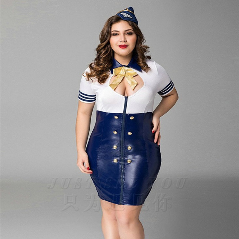 High Quality Plus Big Size Navy Uniform Costumes Sexy Fantasia Quente Hot Erotic Airline Stewardess Baby Doll Latex PU dress