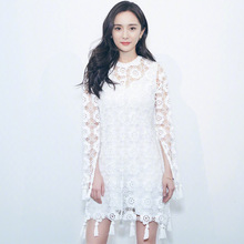 2019 summer women's sexy tassels dress Chic white hollow-out lace dress Women long sleeves dress A302