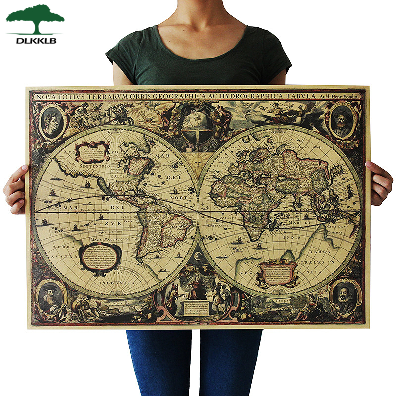 DLKKLB Retro World Map Nautical Ocean Map Vintage Kraft Paper Poster Wall Chart Sticker Antique Home Decor Map World 72.5*51.5cm