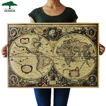 DLKKLB Retro World Map Nautical Ocean Map Vintage Kraft Paper Poster Wall Chart Sticker Antique Home Decor Map World 72.5*51.5cm(China)