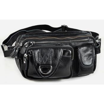 Fashion Men Genuine leather waist bag for men Waist Pack leather fanny pack waist pouch black male Belt Bag Money Belt i4 bk l protective leather waist belt bag case for iphone 4s 4 black