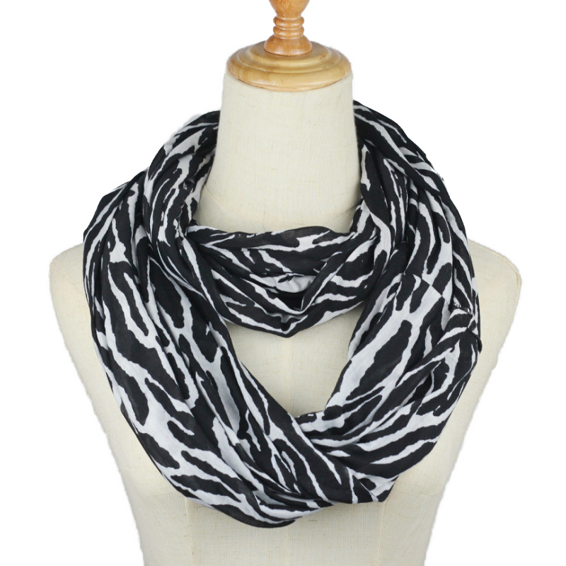 Hot Women Black White Zebra Ring Scarf Female Striped Snood Ring O Scarves Infinity Shawl Soft Wraps