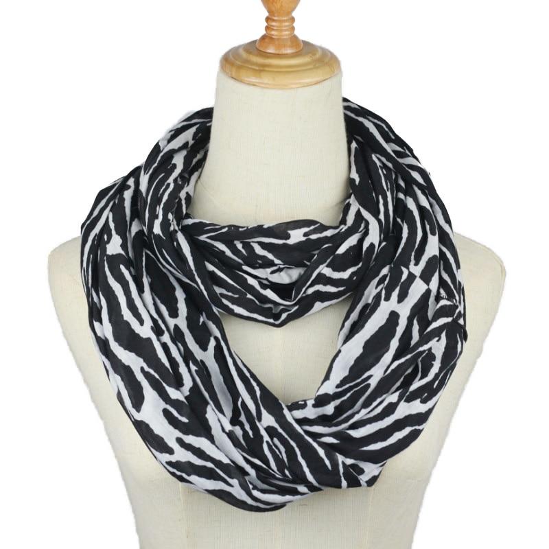 Hot Women black white zebra ring   Scarf   Female striped snood Ring O   Scarves   Infinity Shawl Soft   Wraps