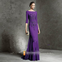 Fashion Mother Of The Bride Dresses Satin Long Coat Purple Long Guest Gown Outfits Half Sleeve