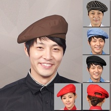 (10pcs/lot)Western restaurant waiter working cap chef hat hotel coffee beret men's and women's cap chef working cap