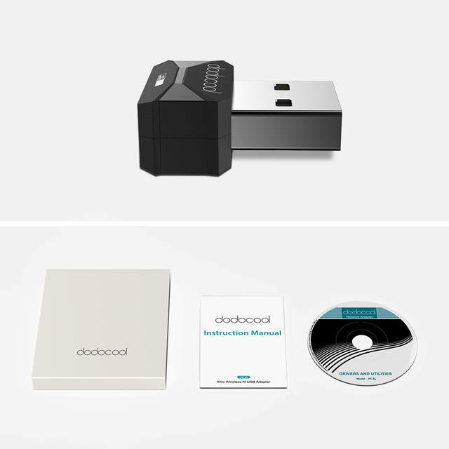 dodocool N150 Mini Wireless-N Wireless Network USB 2.0 Adapter Wi-Fi Dongle 2.4 GHz 150 Mbps Support Windows XP/Vista/7/8/8.1/10