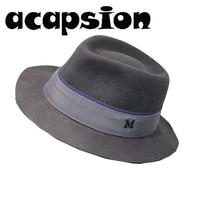 Acapsion Luxury Letter M Wool Jazz Fedora Grey Woolen Hat Short Brim Cowboy Cap Panama Fedoras Hat For Women Chapeu Feminino