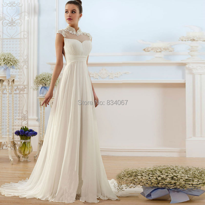 Collar ruched simple bridal wedding dress chiffon a line for High neck backless wedding dress
