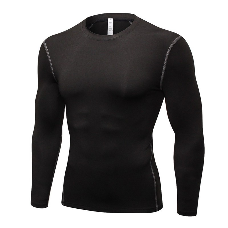 Men Tight-fitting Stretch Fitness Casual Long Sleeve Quick-drying Breathable Bottoming Round Collar T-shirt Sports Tops
