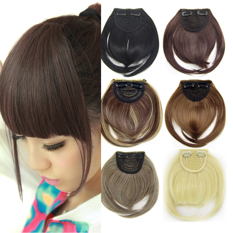 18 colors Sexy Women Girl False Wig Straight Bangs With Temple Hair Pieces Extensions Clip in High Quality Fringe For Human