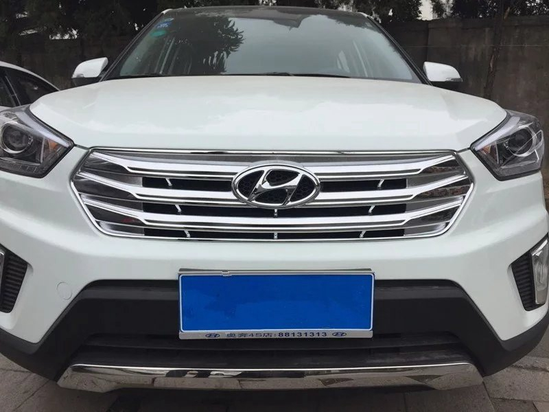 Car Styling For Hyundai Creta IX25 2015 2016 2017 ABS Chrome Exterior Front Grille Racing Grille Cover Trim Decoration Frame цена 2017