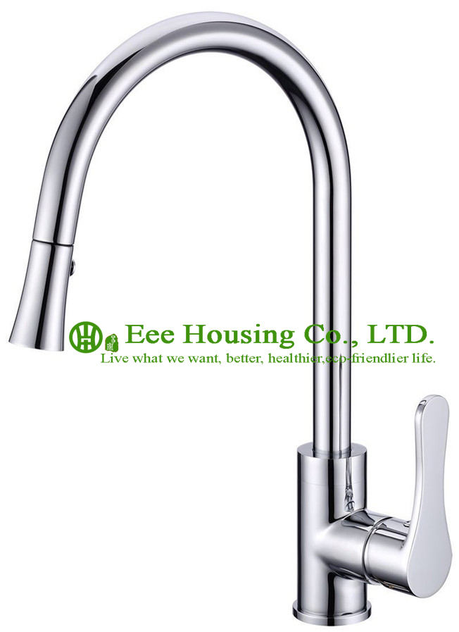 Free Shipping Brass Single-lever Pull-out Sink Mixer,kitchen Faucet Chrome Finished,kitchen Accessories