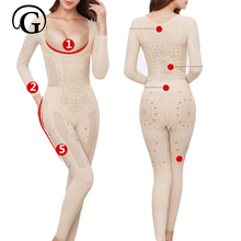 Bodysuits Control Waist-Shapewear Chest Full-Body-Shapers-Lift Open-Butt Slimming Women
