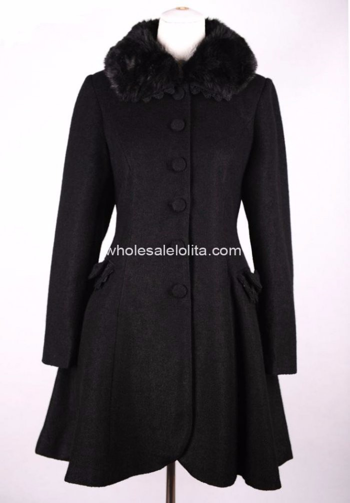 New Styel Black Wool Winter Sweet Coat Lolita Coat Gothic Lolita Wool Coat