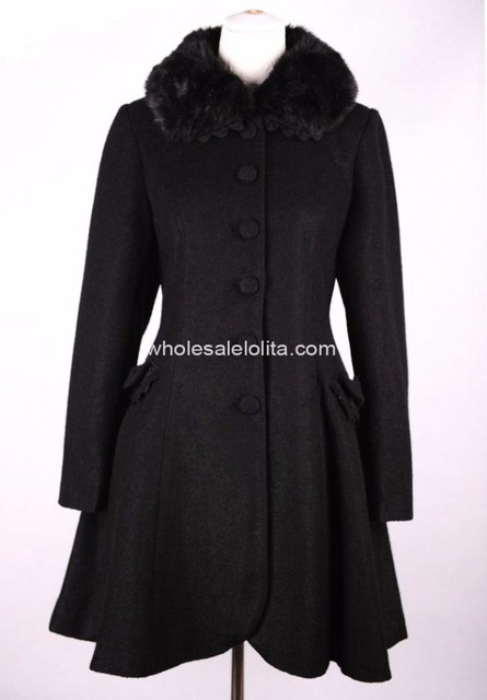 0c3b8f3d6171b New Styel Black Wool Winter Sweet Coat Lolita Coat Gothic Lolita Wool Coat