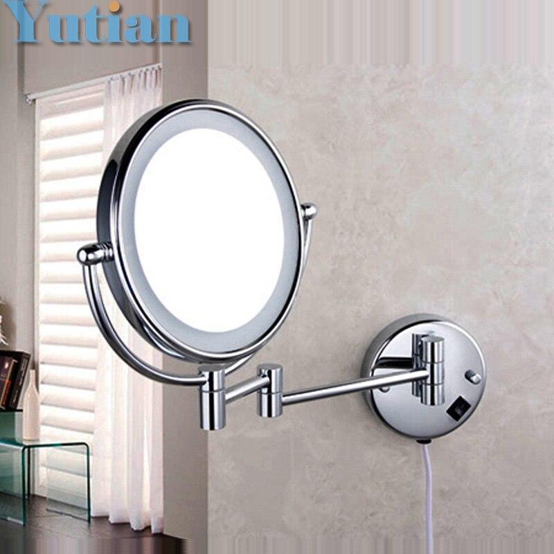 """Бесплатная доставка из светодиодов макияж зеркал 8 """" круглый стороны 3X / 1X зеркал двойной рука расширить косметический настенное крепление у…"""