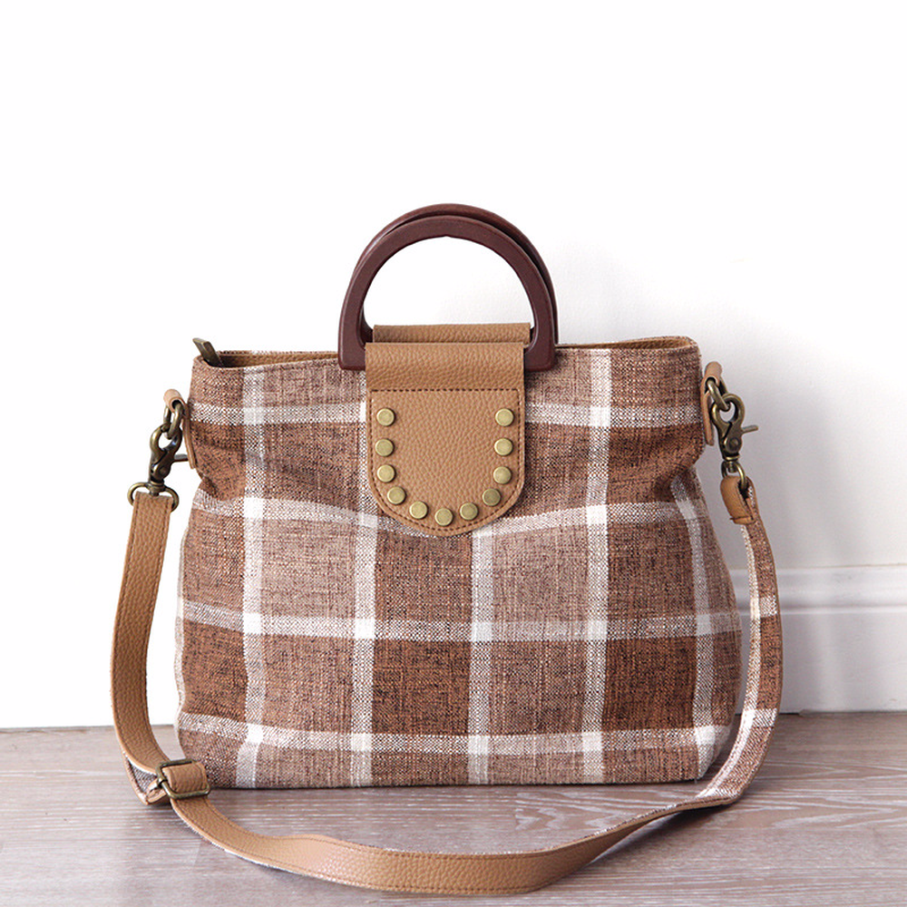 2018 New Women Japan Style Simple Fashion Solid Wood Plaid Panelled Handbag Female Retro Large Capacity Button Shoulder Bags ladies handbag 2018 new simple large capacity zipper waller long tern fashion women style