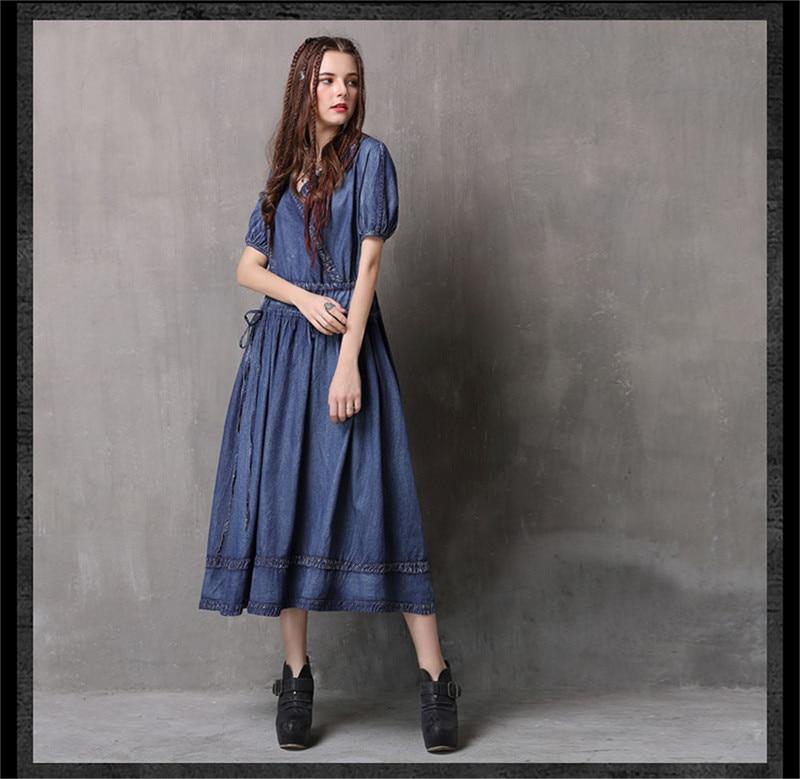 Adjustable Waist Summer Dresses 2019 Vintage Denim Women V-Neck Dress Hollow out  Lantern Sleeve Swing Hem Vestidos (7)
