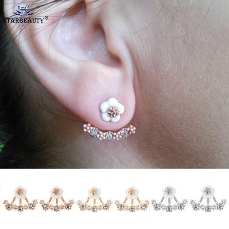 1332f0198 2Pcs Black Copper Acrylic Stud Earrings Women Men Rose Gold Fake Ear Plugs  Flesh Tunnel Gauges