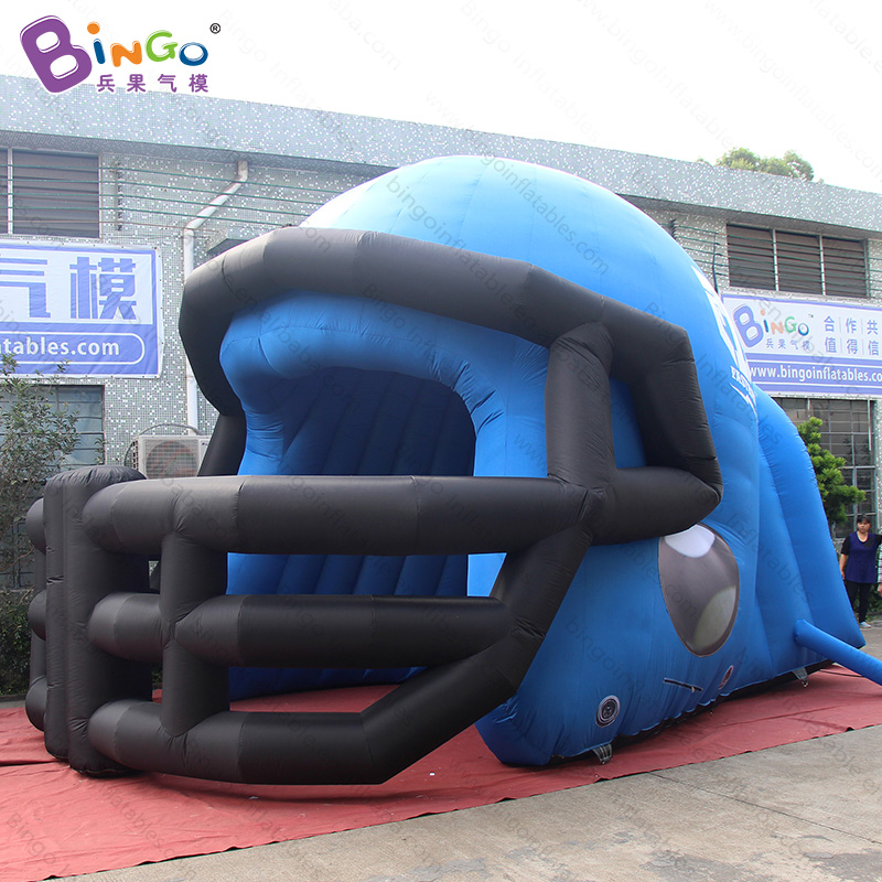 Free shipping 6.7X4.5m giant inflatable helmet tunnel for American football event Customized rugby helmet passageway toy tents