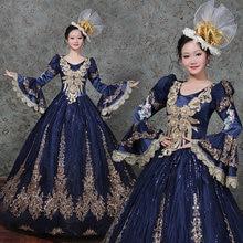 Dark Blue Marie Antoinette Ball Gown Dress Renaissance Historical Period Costumes include Headdresses